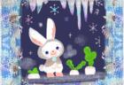 窓を覆う霜と冬毛のうさぎ